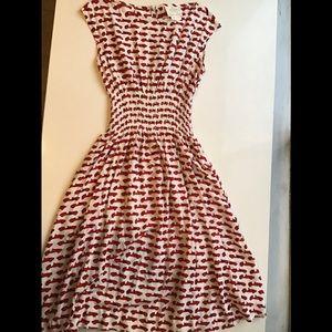 Kate Spade red car print dress size 2